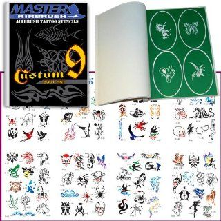 Master Airbrush� Brand Airbrush Tattoo Stencils Set Book #9 Reuseable Tattoo Template Set, Book Contains 100 Unique Stencil Designs, All Patterns Come on High Quality Vinyl Sheets with a Self Adhesive Backing.