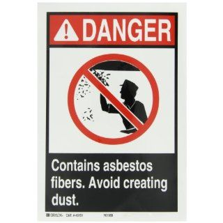 "Brady 45151 Self Sticking Polyester ANSI Z535 Safety Sign, 10"" X 7"", Legend ""Contains Asbestos Fibers Avoid Creating Dust (with Picto)"" Industrial Warning Signs"