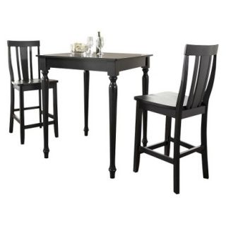 Dining Table Set Crosley Turned Leg Pub Table Set   Black (Set of 3)