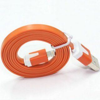 Ayangyang Flat USB Data Sync Charger Cable for Apple Iphone 5 5g Ipad Mini Ipod Touch 5 Nano USB Date Cable for Iphone 5 8 Pin Flat Sync Cable for Iphone 5 Universal USB Charger Syna Calbe for Iphone 5 Ipad 4 Ipad Mini Orange 3 Meter Long Packet of 2 Elec