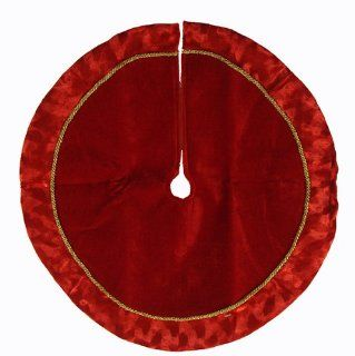 "18"" Red Velveteen Mini Christmas Tree Skirt with Dappled Shadow Effect Trim"