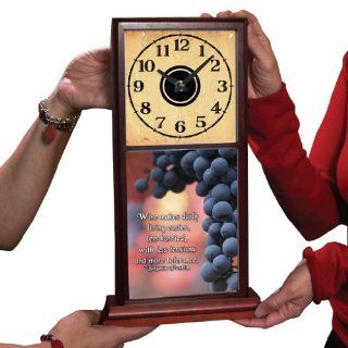 Mahogany Mantle Clock   Grapes w/Ben Franklin Wine Quote   Beautifully done in full color   Wall Clocks