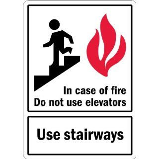 "SmartSign 3M Engineer Grade Reflective Label, Legend ""In Case of Fire Do Not Use Elevators"" with Graphic, 14"" high x 10"" wide, Black/Red on White Industrial Warning Signs"