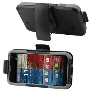 [JNJ] MOTOROLA MOTO X RUGGED DOUBLE LAYER HYBRID CASE+BELT CLIP HOLSTER (Black Grey) Cell Phones & Accessories