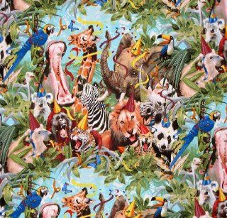"44"" Wide Fabric ""Petpourri Animal with Hats (Zebra, Elephant, Monkey, Hippo, Koala, Panda Bears, Etc) Birthday Party"" Fabric By the Yard  Other Products"