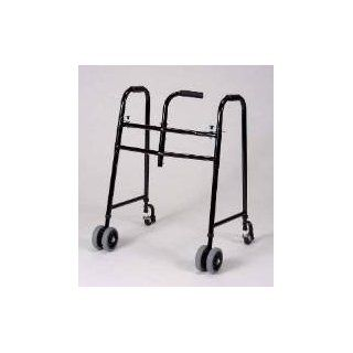 Walker with Wheels   This universal, folding walker is designed for use with one hand. The well balanced center grip may be positioned for either right or left hand use by simply removing two bolts. Incl heavy duty wheels and castors. 400 Lb. Weight Capaci