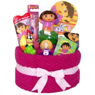 Dora the Explorer Pink Towel Cake for Kids   Dental Care, Bath Products & Toys   Valentines, Easter or Birthday Gift Idea for Girls Health & Personal Care