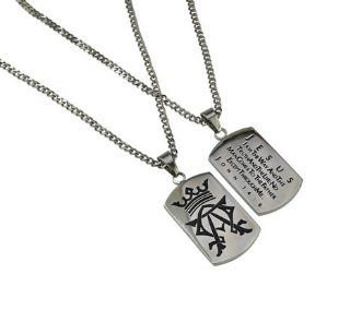 "Christian Mens Stainless Steel Abstinence ""Jesus   I Am the Way and the Truth and the Life; No Man Comes to the Father Except Through Me   John 146"" Alpha & Omega Dog Tag Necklace for Boys   Guys Purity Necklace   24"" Curb Chain Jewelr"