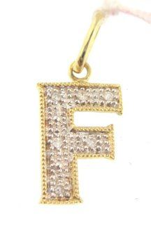 14k Yellow Gold letter F charm diamond Pendant (Dia 0.30 Ct) Jewelry