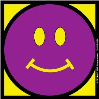 "SMILEY FACE   PURPLE/YELLOW   STICK ON CAR DECAL SIZE 3 1/2"" x 3 1/2""   VINYL DECAL WINDOW STICKER   NOTEBOOK, LAPTOP, WALL, WINDOWS, ETC. COOL BUMPERSTICKER   Automotive Decals"