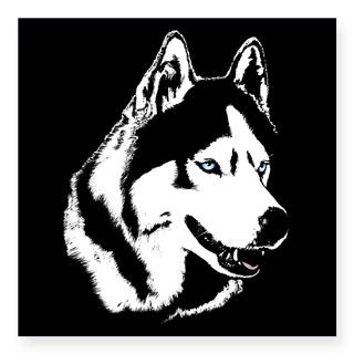 Siberian Husky Sled Dog Square Sticker 3 x 3 by husky_gifts