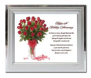 25th Wedding Anniversary Gift   Twenty fifth Anniversary Poem in Silver Frame with a Red Rose Bouquet Design   Picture Frame Sets