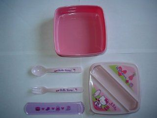 Hello Kitty Cat Pink Bento Lunch Container / Sandwich Box with Fork and Spoon   Great Gift Giving Idea for Women and Girls  Home And Garden Products