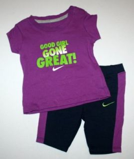 "Nike Baby Girl's 2 piece ""Good Girl Gone Great"" Shirt and Legging Set (6 9 Months) Clothing"