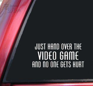 Just Hand Over The Video Game And No One Gets Hurt Vinyl Decal Sticker   White Automotive