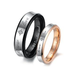 Fashion Black Plated Unisex Men's Stainless Steel Forever Love Ring Jewelry