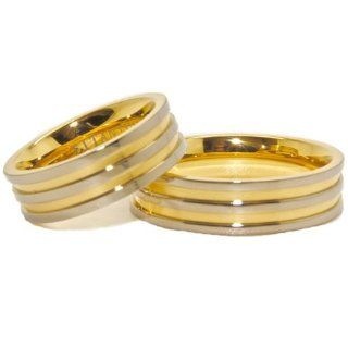 Matching 6mm Titanium and Triple Gold Plated His & Hers Ring Set Wedding Bands (US Sizes 4 16, Half Sizes Available) Jewelry