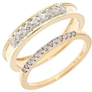 3/8 CT. T.W. Diamond His And Hers Wedding Rings 14K Yellow Gold Jewelry