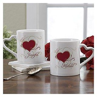 His & Hers Romantic Heart Personalized Coffee Mug Set Kitchen & Dining