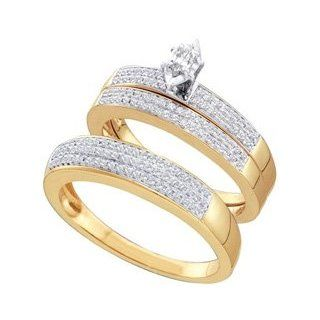 10k Yellow Gold Marquise Diamond Solitaire Men + Womens His Hers Matching Trio Bridal Wedding Engagement Ring & Anniversary Band Set   .50 (1/2) Ct.t.w. Jewelry