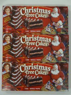 Little Debbie Christmas Tree Cakes Chocolate 3 Boxes 15 Cakes  Packaged Sandwich Snack Cookies  Grocery & Gourmet Food