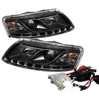 High Performance Xenon HID Audi A6 ( Non Quattro with AFS ) DRL LED Projector Headlights with Premium Ballast   Black with 4300K OEM White HID Automotive