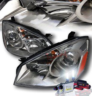 High Performance Xenon HID Nissan Altima Projector Headlights   Gunmetal with Premium Ballast (Glossy Black Housing w/ Smoke Lens & 10000K HID Lighting Output) Automotive