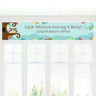 Banner   Owl   Look Whooo's Having A Baby   Personalized Baby Shower Banner Toys & Games