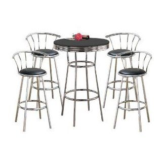 MAN CAVE Metal Bar Table & Pub Set with 4 Swivel Seat Bar Stools with Back Rests   Barstools With Backs