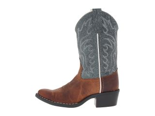 Old West Kids Boots J Toe Western Boot (Toddler/Little Kid) Brown Oily Foot/Snuffed Blue Shaft