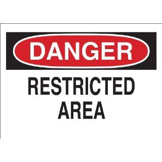"Brady 84110 Self Sticking Polyester, 10"" X 14"" Danger Sign Legend ""Restricted Area"" Industrial Warning Signs"
