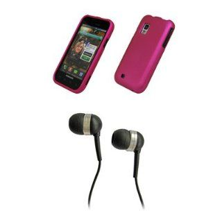 Hot Pink Rubberized Snap On Cover Case + Stereo Hands Free 3.5mm Headset Headphones for Samsung Mesmerize I500 Cell Phones & Accessories