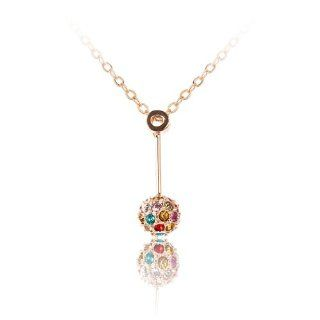 Fashion Plaza Dangle Gold Plated Ball with Colorful Clear Swarovski Crystal Pendant Necklace Chain N244 Jewelry