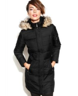 Calvin Klein Petite Hooded Faux Fur Trim Quilted Puffer Coat   Coats   Women
