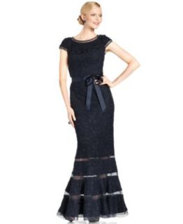 Betsy & Adam Cap Sleeve Sequin Belted Gown   Dresses   Women