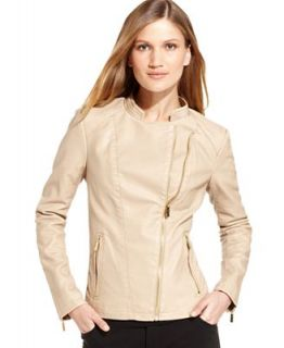 Calvin Klein Long Sleeve Faux Leather Moto Jacket   Jackets & Blazers   Women