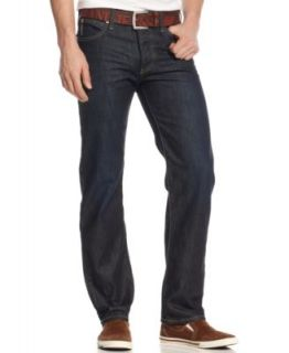 Armani Jeans Regular Fit Straight Leg Dark Wash Whiskered Jeans   Men