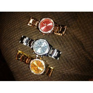 3 PACK Geneva Silver Gold and Rose Gold Plated Classic Round CZ Ladies Boyfriend Watch Watches