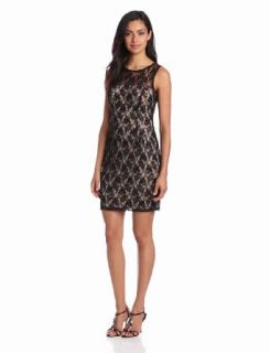 Adrianna Papell Women's Lace Dress with Sheer Back, Champagne/Black, 12