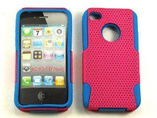 MESH SOFT SKIN FOR APPLE IPHONE 4 4S RUBBER SILICONE HARD COVER CASE AA 025D BLUE HOT PINK CELL PHONE ACCESSORY Cell Phones & Accessories