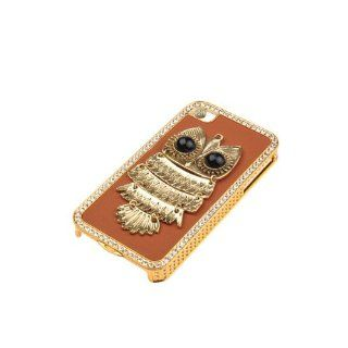 3d Bling Handmade Metal Night Owl Leather Hard Cover Case for Iphone 4s 4 Cell Phones & Accessories