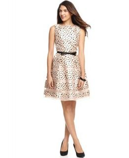 Taylor Dress, Sleeveless Bow Belted Polka Dot Printed A Line   Dresses   Women