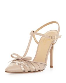 kate spade new york lello patent point toe bow pump, powder