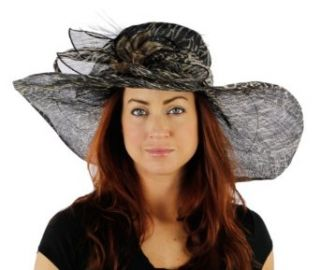 Pretty Polka Dot Wide Brimmed Sinamay Kentucky Derby Church Hat (Zebra Print) Sun Hats