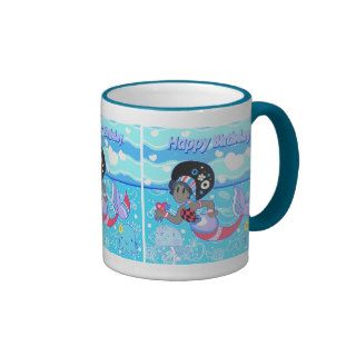 """Happy Birthday"" Cute Pretty Mermaid Mugs"