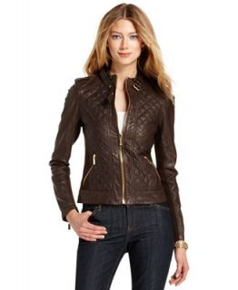 MICHAEL Michael Kors Jacket, Quilted Leather Motorcycle   Jackets & Blazers   Women