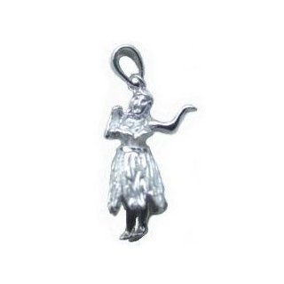 Hawaiian Jewelry Sterling Silver Dancing Hula Girl Pendant Jewelry