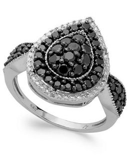 Sterling Silver Black (1 ct. t.w.) and White Diamond Accent Pear Shaped Ring   Rings   Jewelry & Watches
