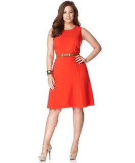 Calvin Klein Plus Size Dress, Sleeveless Belted A Line   Dresses   Plus Sizes
