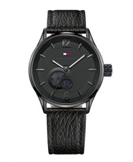 Tommy Hilfiger Watch, Mens Automatic Black Leather Strap 1710287   Watches   Jewelry & Watches